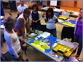 Workshop participants discuss a completed Life Story Board layout.